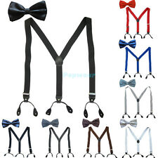 Mens Button Hole Classic Solid Elastic Suspenders Braces & Bow Tie Tuxedo Sets