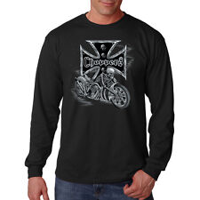 Iron Cross Skeleton Riding A Motorcycle Biker Chopper Long Sleeve T-Shirt Tee