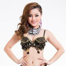Fashion Women Dance Costume Crystal Belly Beaded Sequin Bra Top H-Quality E36