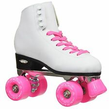 New White Epic Classic High-Top Quad Roller Skates with Pink Outdoor Wheels