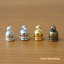 8pcs: Mini Tassel Cap Hole Dia 5mm Metal Charm Antique & Gold Accessories DIY