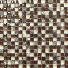 Vetro Marmi Glass Mosaic Tile - Burgundy, Brown, Clear Glass & Dark Emperador Ma