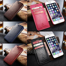 Genuine Flip Leather Card Holder Slot Wallet Stand Case Skin For iPhone& Samsung