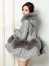 100% Real Genuine Sheep Leather Coat Jacket Outwear Fox Fur Hoody Poncho Fashion