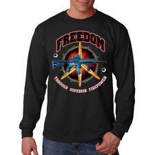 Freedom Through Superior Firepower AR-15 Rifle 2nd Amendment Long Sleeve T-Shirt
