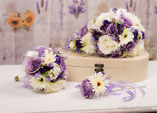 Mixed Flower Silk Bridal Bouquets in Purple & Lilac, Bridesmaids, Flower girl