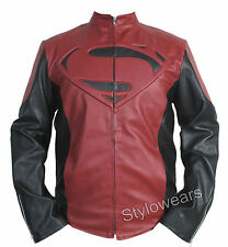 New Mens Man Of Steel Superman Smallville Faux Leather Biker Jacket Costume