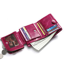 Quality Women's Real Leather Zipper Coin Specie Purse Mini Trifold Clutch Wallet