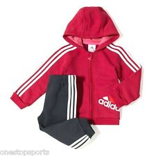 Adidas girls pink 3 stripe infant/baby tracksuit. Jogging suit. Ages 9-24 months