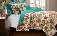 King, Qn/Full Cotton Quilt 3-Pc Set or Thro Floral Reversible Teal Turquoise Red