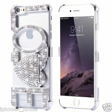 Luxury Bling Diamond LOVE Kickstand Silver Bumper Case For iPhone 6/6s Plus 5.5""