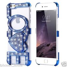 Luxury Bling Diamond LOVE Kickstand Blue Bumper Case For iPhone 6/6s Plus 5.5""