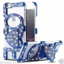 Luxury Diamond Bling LOVE Blue Bumper Case Cover + Kickstand For iPhone 6/6s