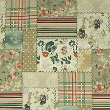 Patchwork Pattern Printed Chenille Upholstery Curtains Blinds Furnishings Fabric