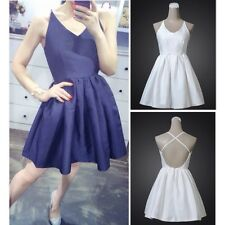 Womens Sexy Solid Backless Skirt Evening Cocktail Prom Party Dance Mini Dress