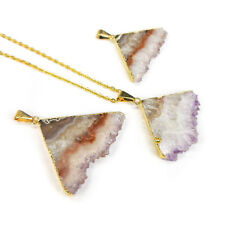Druzy Amethyst Crystal Necklace Gold Triangle Pendant 40 mm Slice LR9