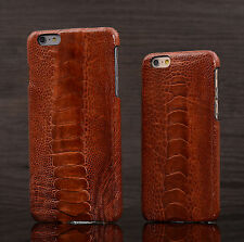 CAPIS Brown Genuine Ostrich Leg Skin Leather Case Cover for iPhone 6 6s 7 Plus