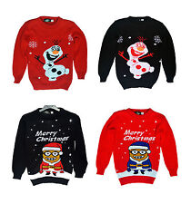 CHILDRENS KIDS CHRISTMAS XMAS RETRO JUMPER BOYS GIRLS SWEATER FROZEN MINIONS