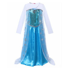 Girls Elsa Princess Fancy Dress Kids Frozen Costume Girls Sequin Party Dresses