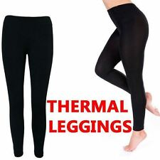 NEW LADIES WOMENS WINTER BLACK WARM FLEECE LINED FOOTLESS THERMAL LEGGINGS