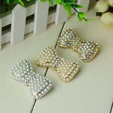 2 pcs Bow silver gold Faux pearl Repair Clear Rhinestone Shoe Charm Clip SA29