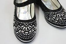Girls Mary Janes Dress Dance Shoes w HEELS and RHINESTONES - Black Silver & Pink