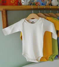 Organic Cotton Babygrow Kids Clothes Bodysuit LONG Sleeve BN CREAM Natural 0-3m