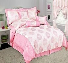 Bedspread Comforter 7Pcs Glittery Jacquard Quilt Polyester Filled Polyester Pink