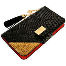 Luxury Snake Skin PU Leather Flip Wallet Purse Case BLACK for iPhone 6 6S Plus