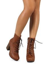 New Women Qupid Sotto-01 Leatherette Almond Toe Block Heel Lace Up Military Boot