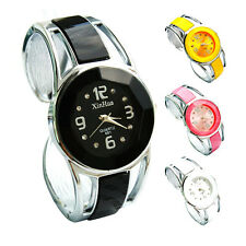 Fashion Womens Bangle Crystal Dial Stainless Steel Quartz Wrist Watch Bracelet
