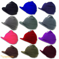 Plain Beanie Visor Knitted Skull Cap Hat Colors Wam Winter Ski Snow Headwear New