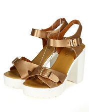 New Women Refresh Gaga-3 Metallic Open Toe Platform Chunky Heel Sandal