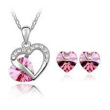 Elegant Lady Heart Crystal Rhinestone Stud Earring Necklace Pendant Jewelry Set