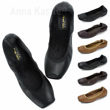 AnnaKastle New Womens Snub-Toe Elastic Ballet Faux Fur Warm Flats US 5 6 7 8