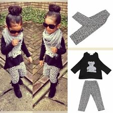 Toddler Kids Baby Girl Outfit Clothes Long Sleeve T-shirt+Leopard Pants 2PCS Set