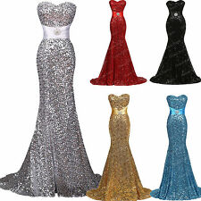 Sequins Mermaid Sexy Formal Evening Long Wedding Prom Ball Gown Bridesmaid Dress