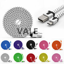 1/2/3M Fabric Braided Flat Micro USB 2.0 Charger Sync Data Cable For Cell Phones