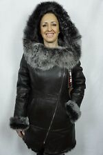 Brown 100% Toscana Sheepskin Shearling Leather Lambskin Coat Jacket Hood XS-6XL