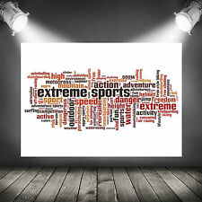 extreme sports word cloud wall art poster print