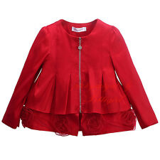 Girls Flower Jacket Red Children Kids Spring Autumn Party Coat Outerwear