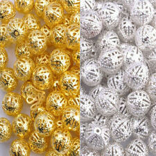 100Pcs 4/6/8/10/12mm Gold & Silver Plated Metal Filigree Spacer Beads & Choose