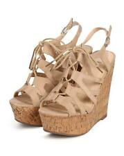 New Women Wild Diva Chic-124 Suede Peep Toe Gilly Tie Cork Wedge Sandal Size
