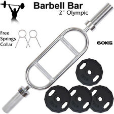 """2"""" Olympic Barbell Bar Disc Iron cast Weight Plates Set Gym Weightlifting Tricep"""