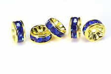 rhinestone copper spacer bead, yellow gold plated, blue rhinestone, 6-12mm