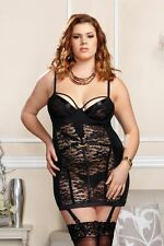 Floral Lace & Microfiber Harness Chemise Hot Night Dress Lingerie Adult 8326