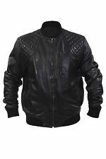 Infinity New Mens Retro Black Nappa Leather Bomber Slim Fit Varsity Jacket