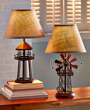 Nuatical Seaside Lighthouse Table Lamp 3D Windmill Shaped Lamp Burlap Shade