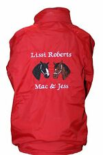 Personalised Embroidered Equestrian two heads Horse pony Riding Jacket