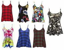 Womens  Swing Strappy Flared Ladies Cami Sleeveless Vest Top Size 8-26